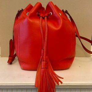 J.Crew Red Drawstring Bag